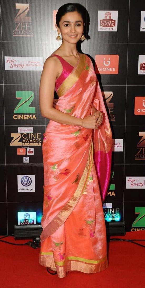 Alia Bhatt In Pink Silk Saree