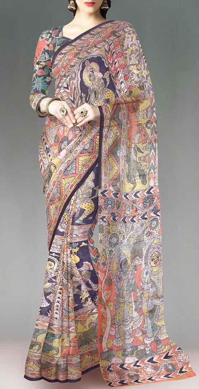 All Over Kalamkari Lakshmi Narayan Design On Pure Silk Saree