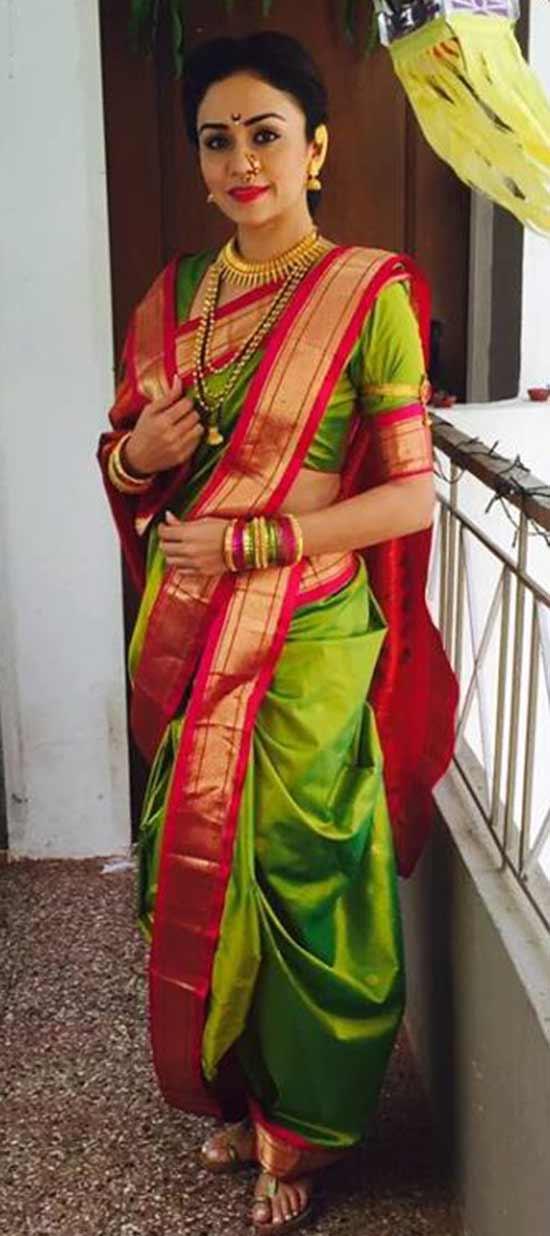 Amruta Khanvilkar In Green Color Nauvari style drape
