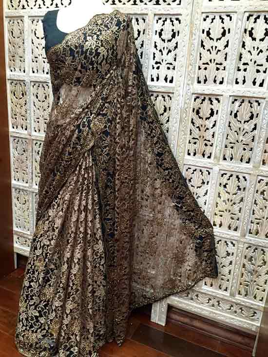Antique gold and black dual tone French Chantilly lace saree