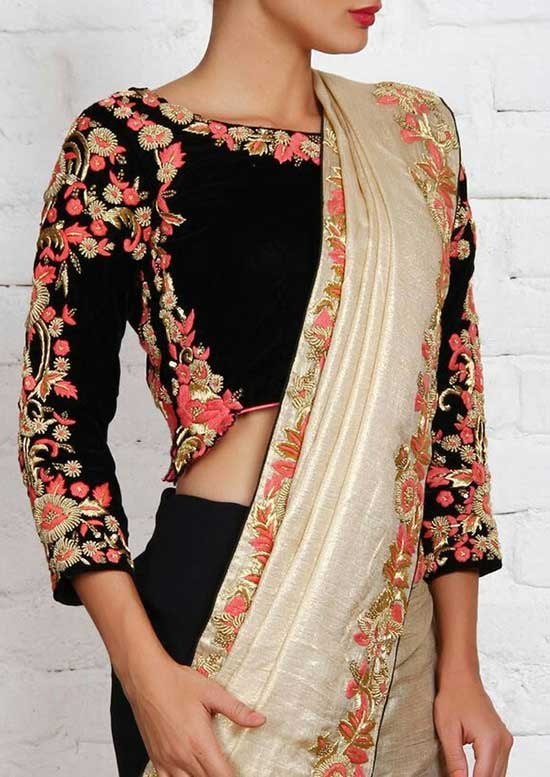 Beautiful Embroidery on black Blouse with unusual shape n 3 4th sleeves