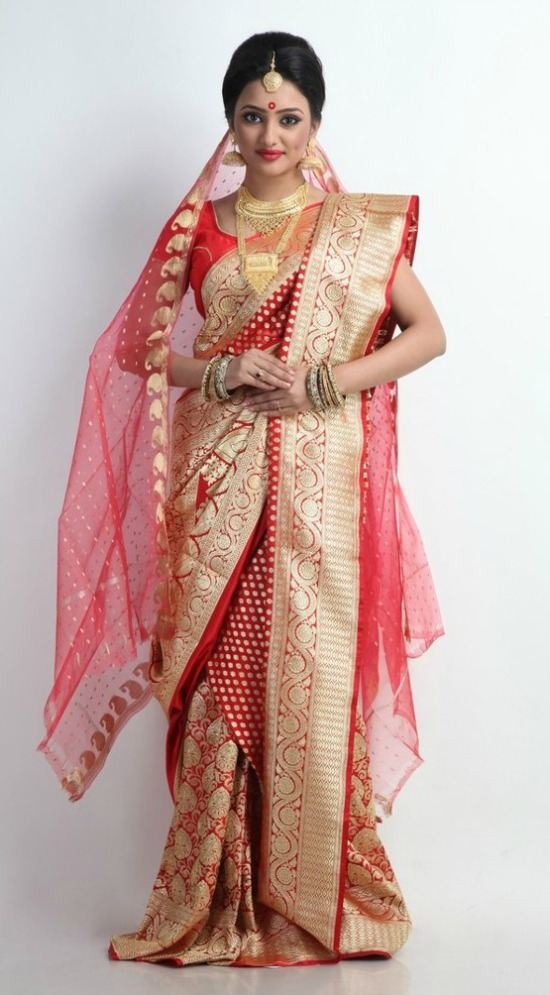 Beautiful Red and Gold Banarasi Silk Bengali Saree