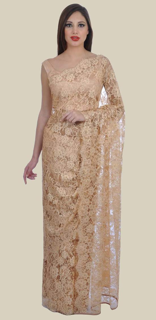 Beige Gold French Chantilly Lace Saree With Satin Crepe Blouse