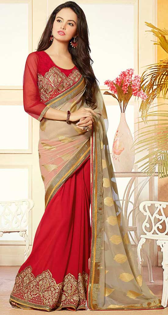 Beige Jacquard Half and Half Party Wear Saree