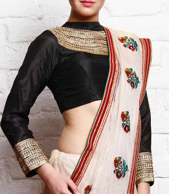 Black Silk Padded Blouse With Gota Work