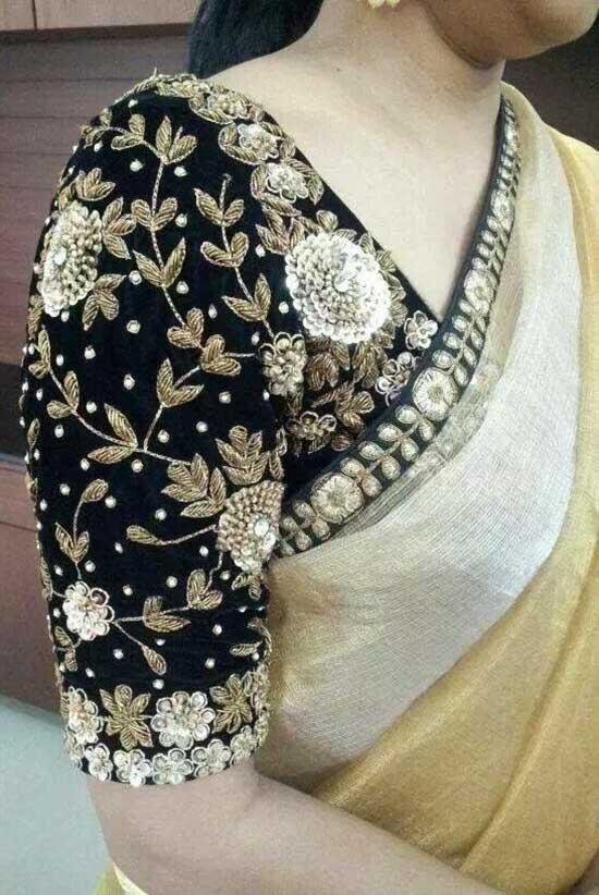 Black velvet designer quarter sleeves blouse with round neck patterned