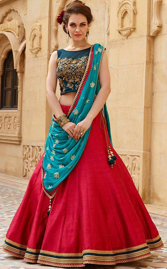 Blue And Red Color Designer Lehenga Choli For Women