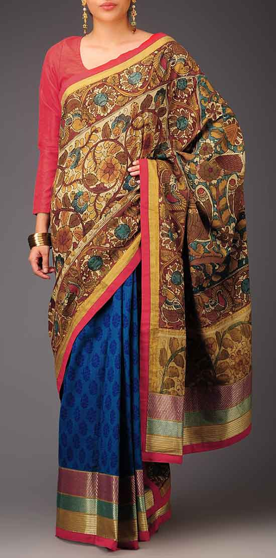Blue Ecru Red Golden Buti Kalamkari Mangalagiri Cotton Saree