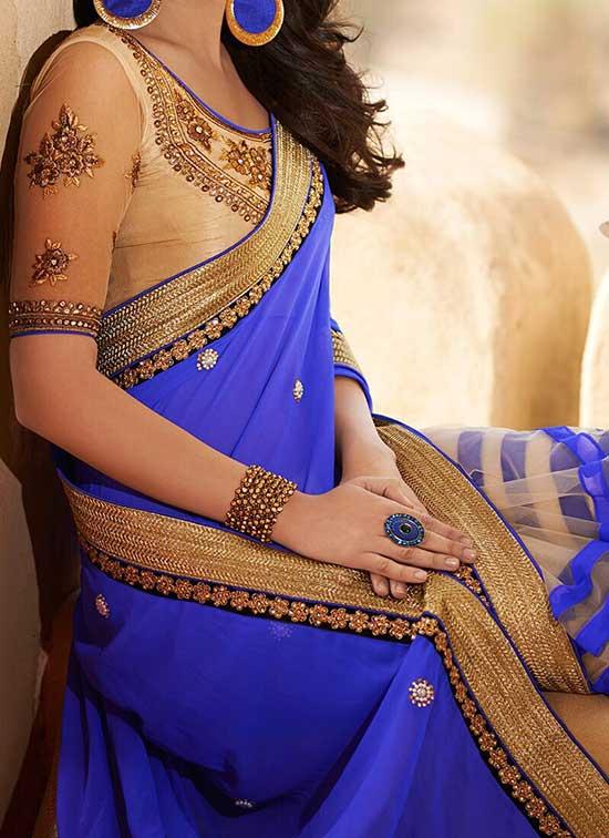 Blue and gold saree or sari and blouse design