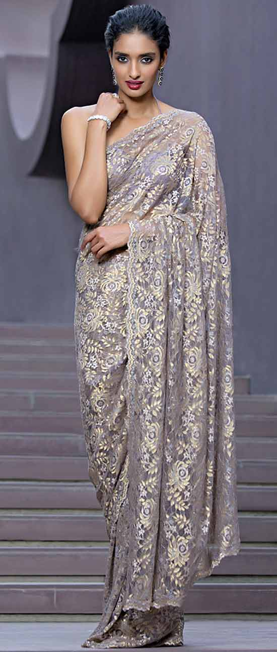 Chantilly Lace Saree Embellished With Swarovski
