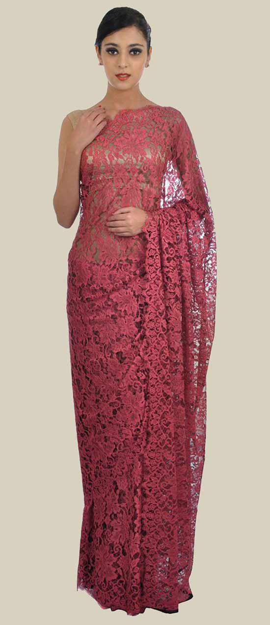 Cherry Red French Chantilly Lace Saree With Crepe Tissue Blouse