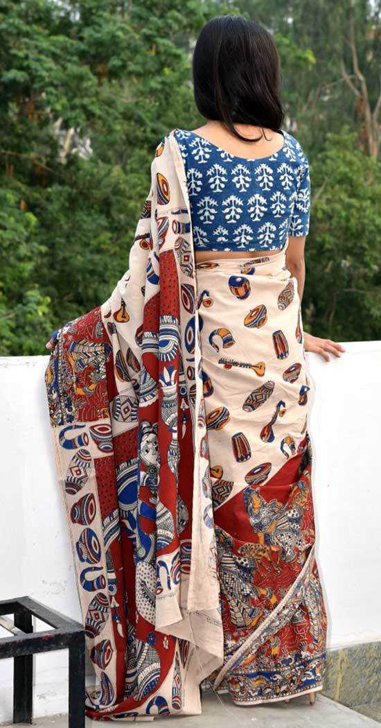 Cream And Maroon Kalamkari Saree Paired With Blue Blouse