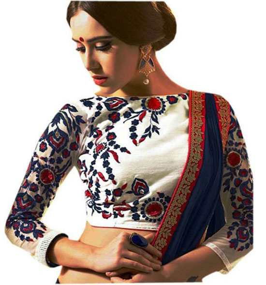 Drapme Floral Embroidery Cream Cotton Silk Unstitched Blouse