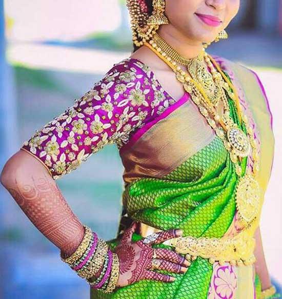 Elbow length Maggam work blouse designs
