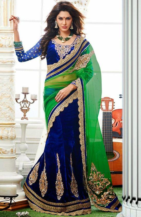 Jewel Neck Maharani Blouse With Transparent Sleeve