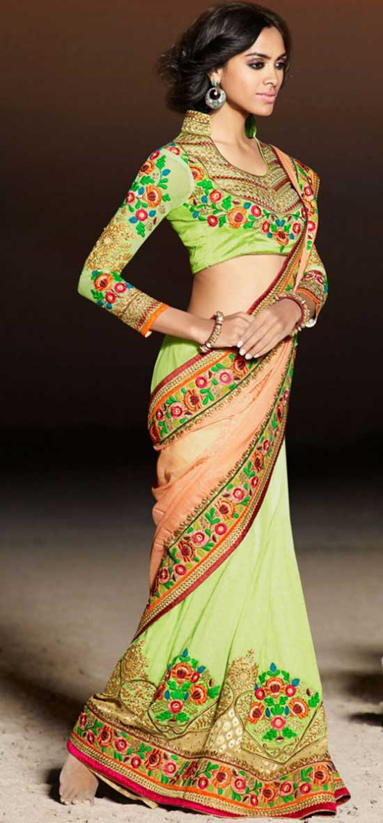Green and Orange Designer Half and Half Saree