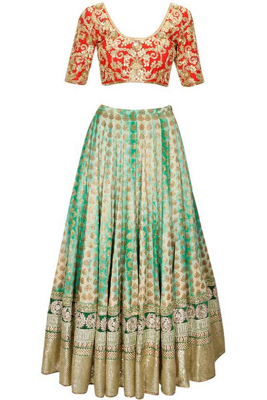 Green shibori brocade lehenga with red embroidered blouse and dupatta