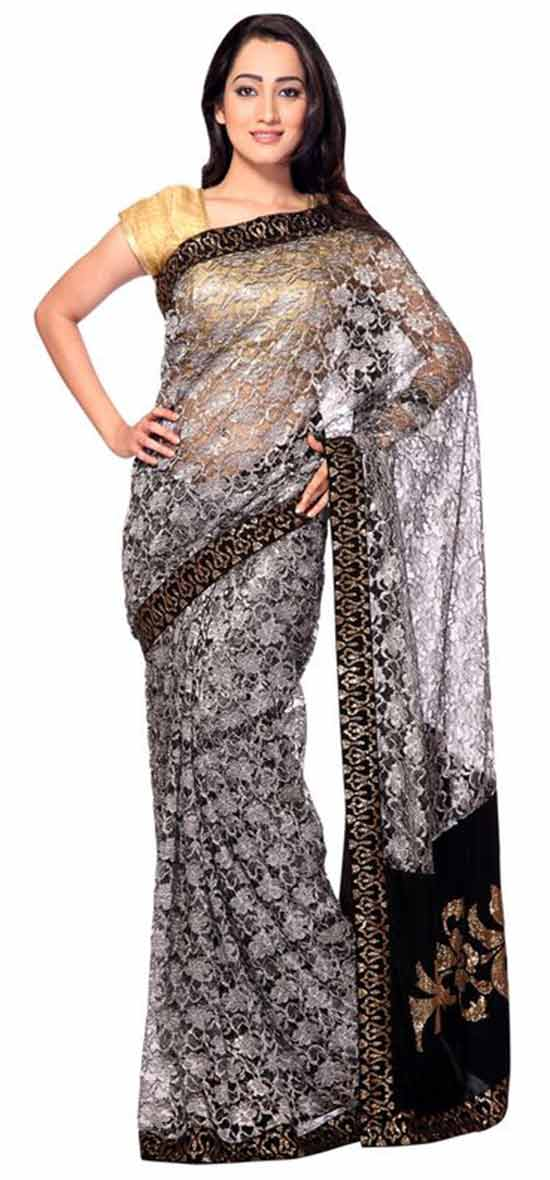Grey chantilly lace saree with swarovski work