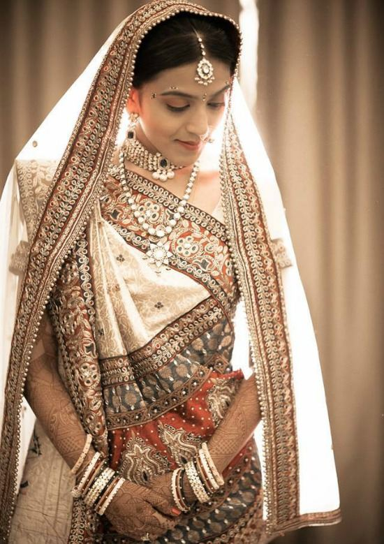 Gujarati Bride Wearing White Lehenga