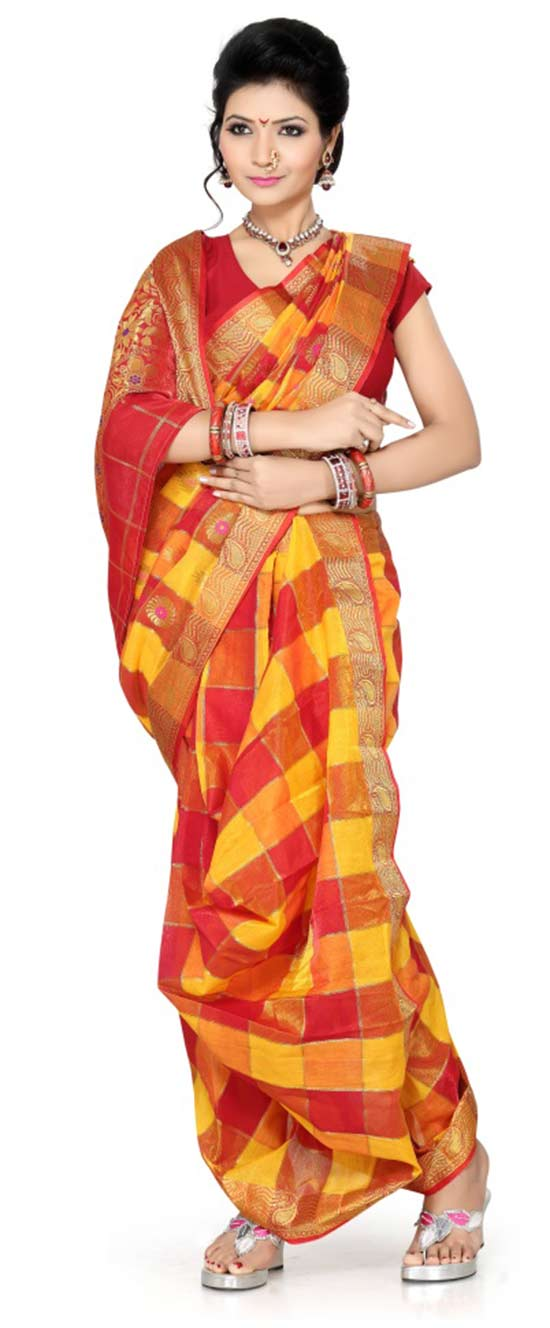 Ishin Cotton Printed Nauvari Saree