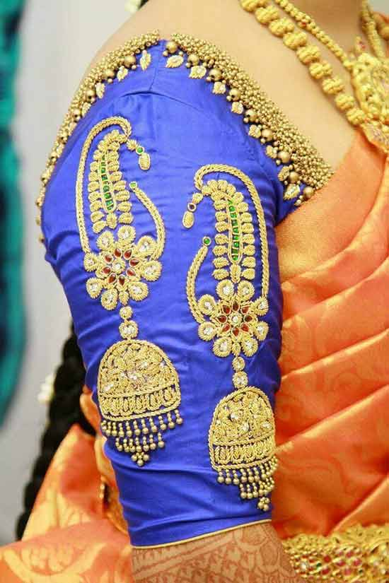 Jhumka Design Blouses for Silk Saree
