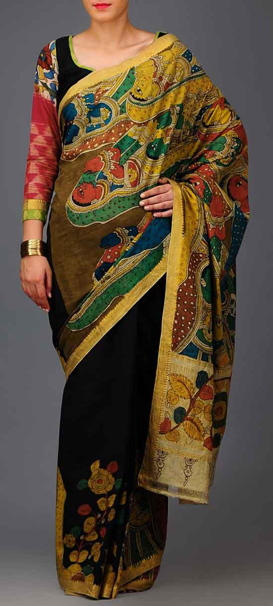 Kalamkari Mangalgiri Cotton Saree