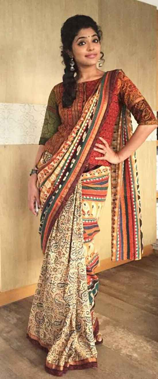 Kalamkari Saree Paired With Jacket Style Blouse