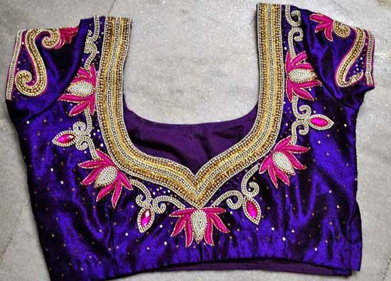 Maggam flower work blouse design