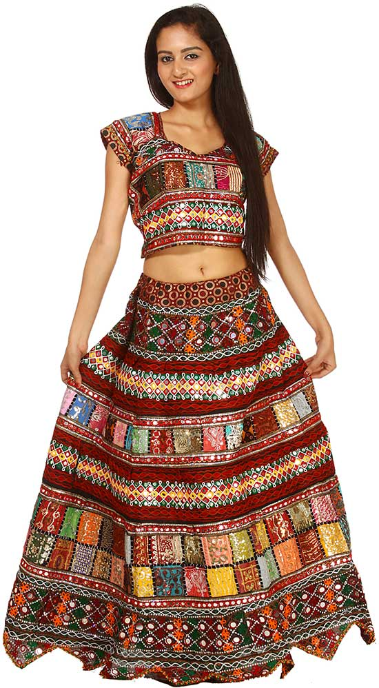 Multi Color Two Piece Ghagra Choli From Kutch with Embroidered Sequins and Patchwork