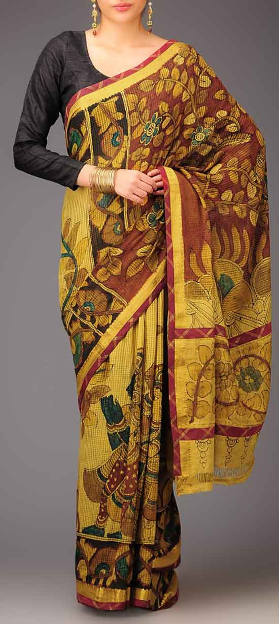 Mustard Brown Maroon Green Kalamkari Mangalagiri Cotton Saree
