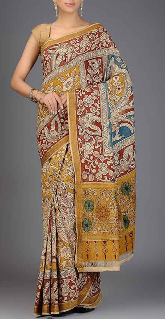 Mustard Red Multicolor Hand Painted Kalamkari Cotton Saree with Zari Border