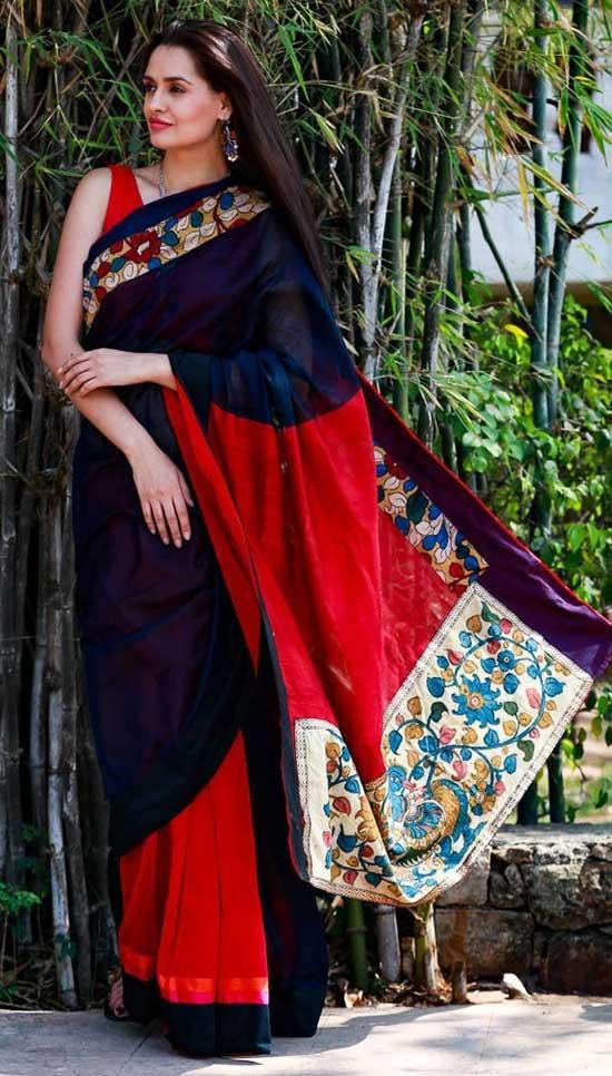 Navy Blue Half Silk Cotton With Red Chanderi & Kalamkari Pallu