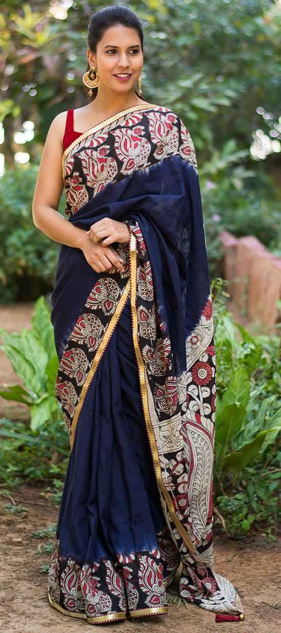 Navy blue semi crepe saree with printed Kalamkari border and Pallu