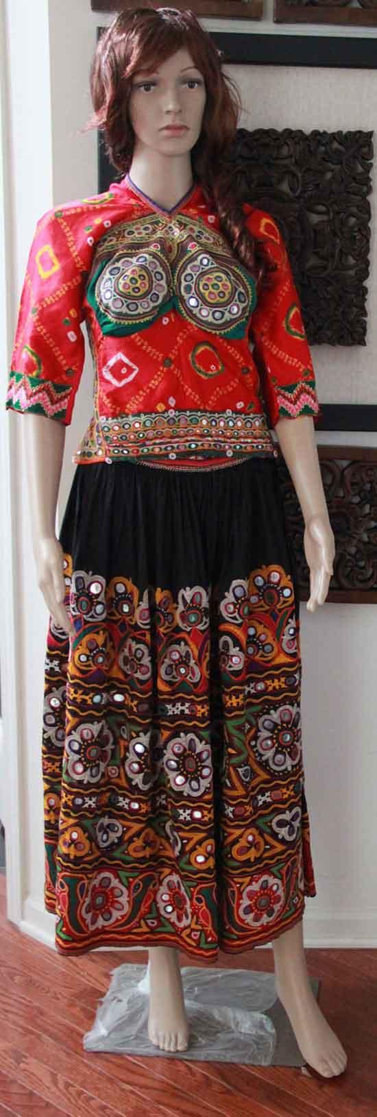 Original Rabari Style Ghagra Choli with Kutchi hand embroidery
