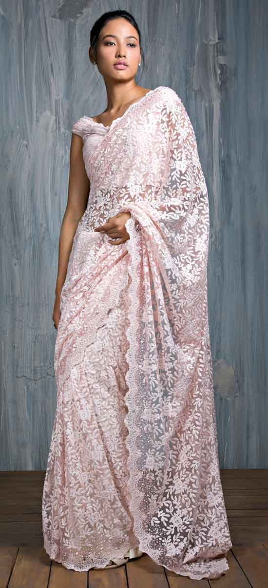 Peach Pink Chantilly Saree With Off Shoulder Blouse