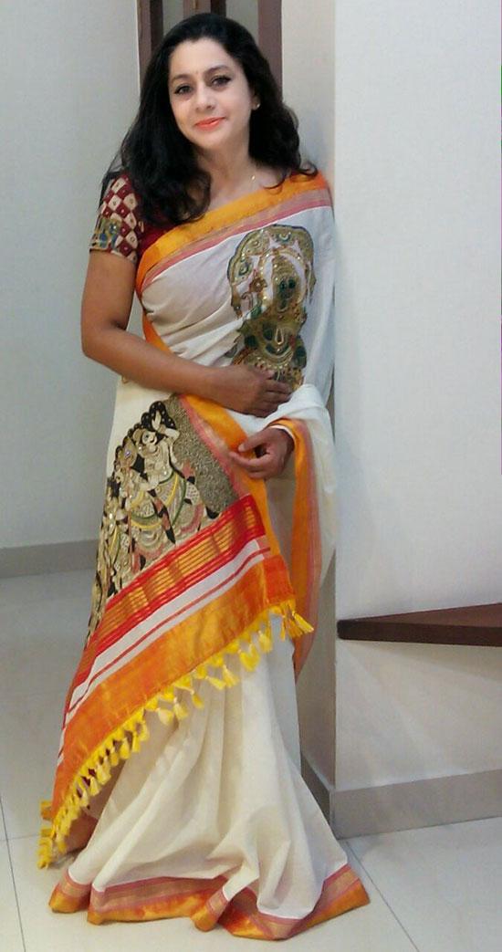 Pen Kalamkari Kerala Saree