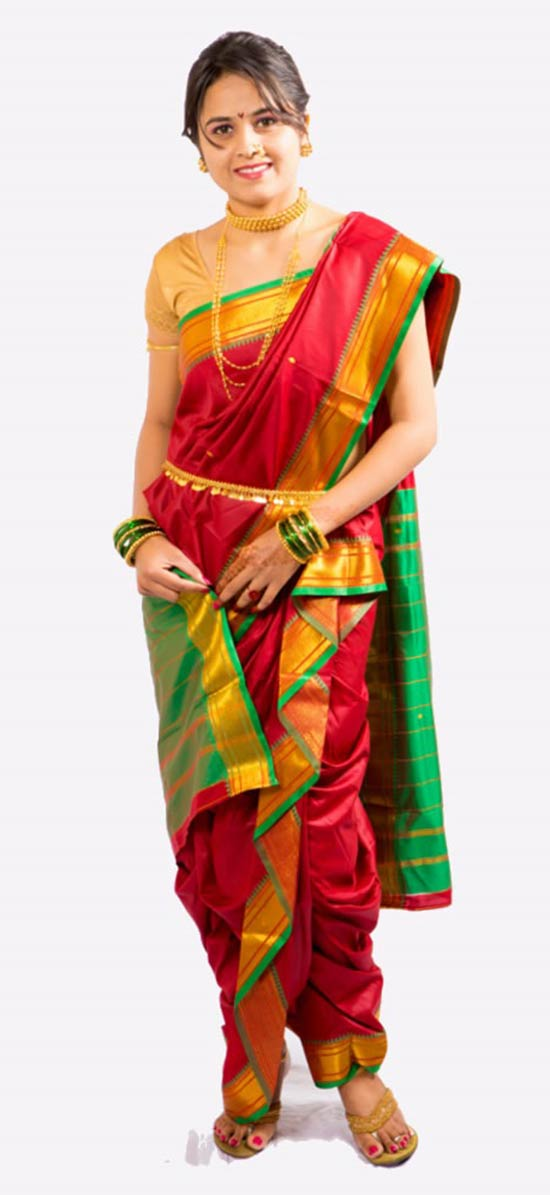 Peshwai Maroon Color Nauvari Saree With Blue Color Pallu