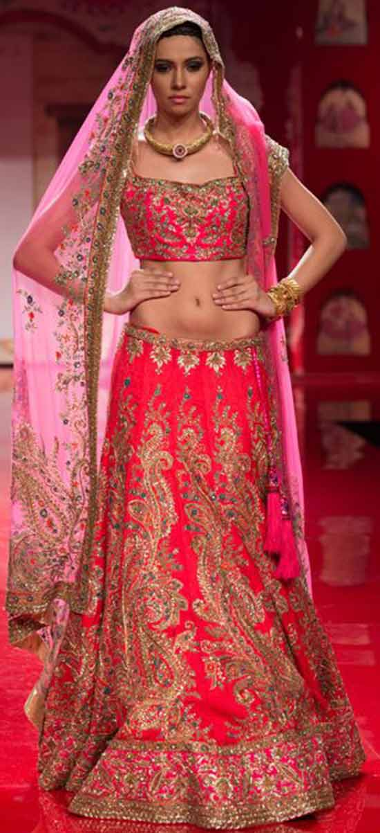 Pink embroidered Indian Wedding Lehenga with Dupatta