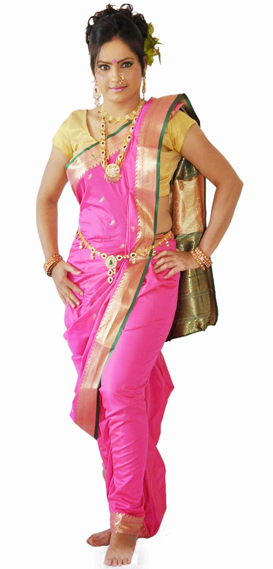 Pre-stitched Traditional Pink Saree With Gold Border Nauvari Saree