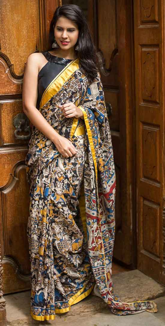 Printed Kalamkari cotton saree with yellow border