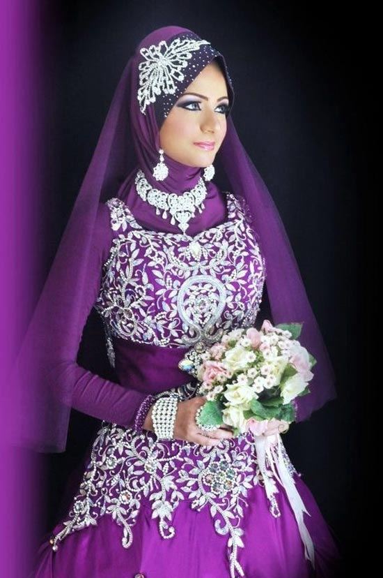 Purple Hijab with Dopatta with Front Stones and Full Sleeve Blouse