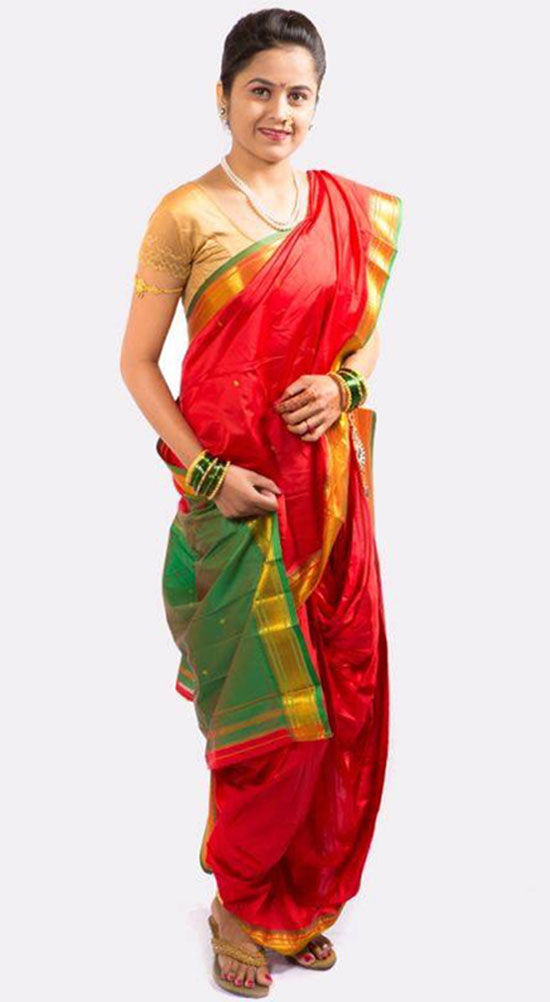 Readymade Traditional Brahmni Nauvari Saree