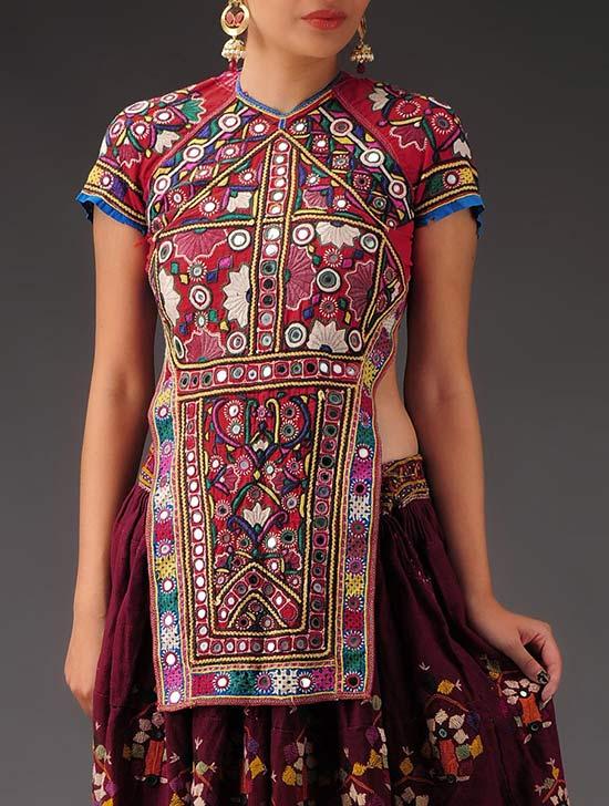 Red Ethnic Rabari Hand Embroidery Backless Choli