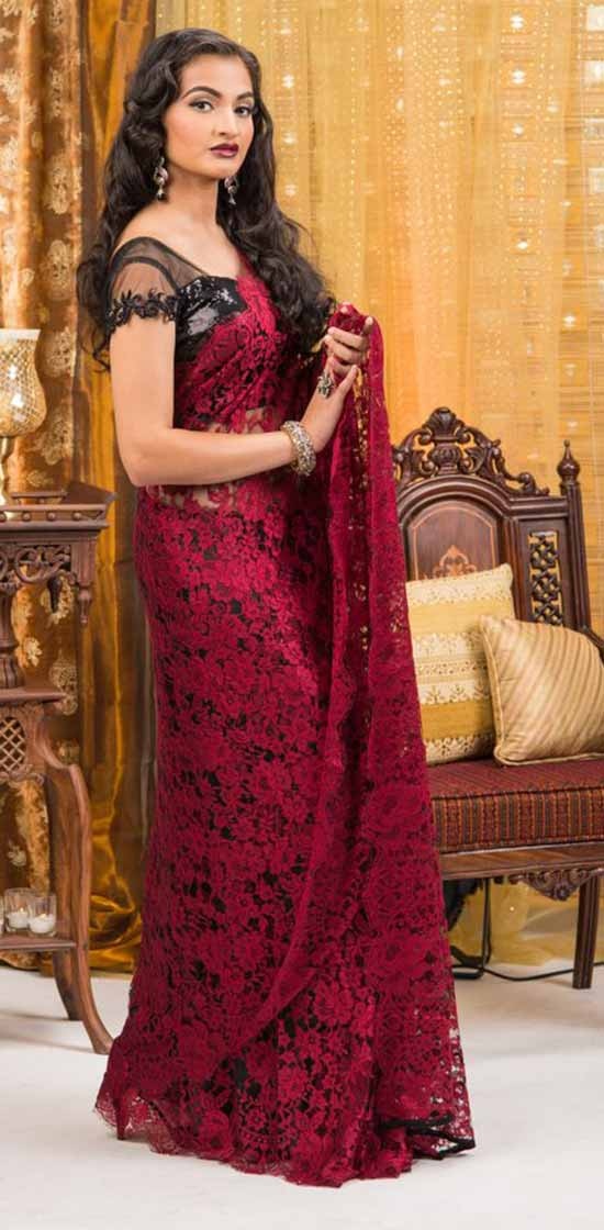 Red French Chantilly Lace Saree With Sheer Blouse