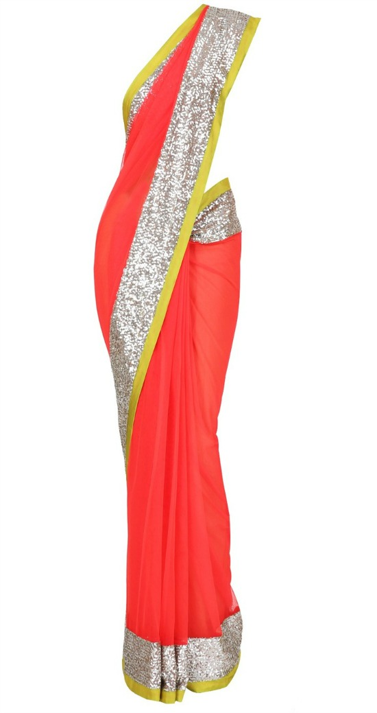 Red Net Saree With Sequin Border