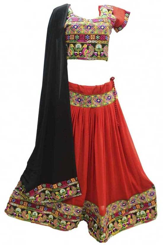 Red and Black Traditional Chaniya Choli Navratri Bollywood Chaniya Choli