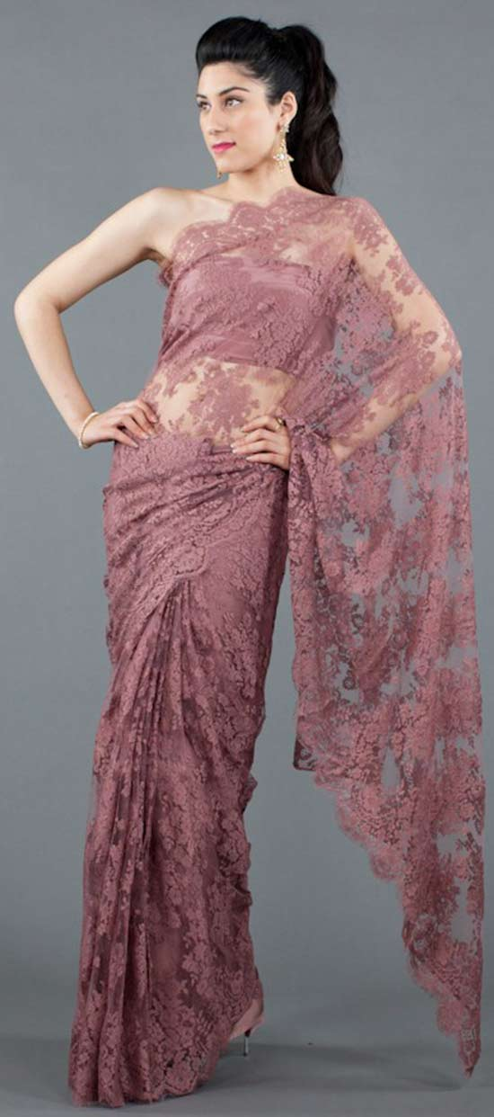 Rose French Chantilly Lace Saree