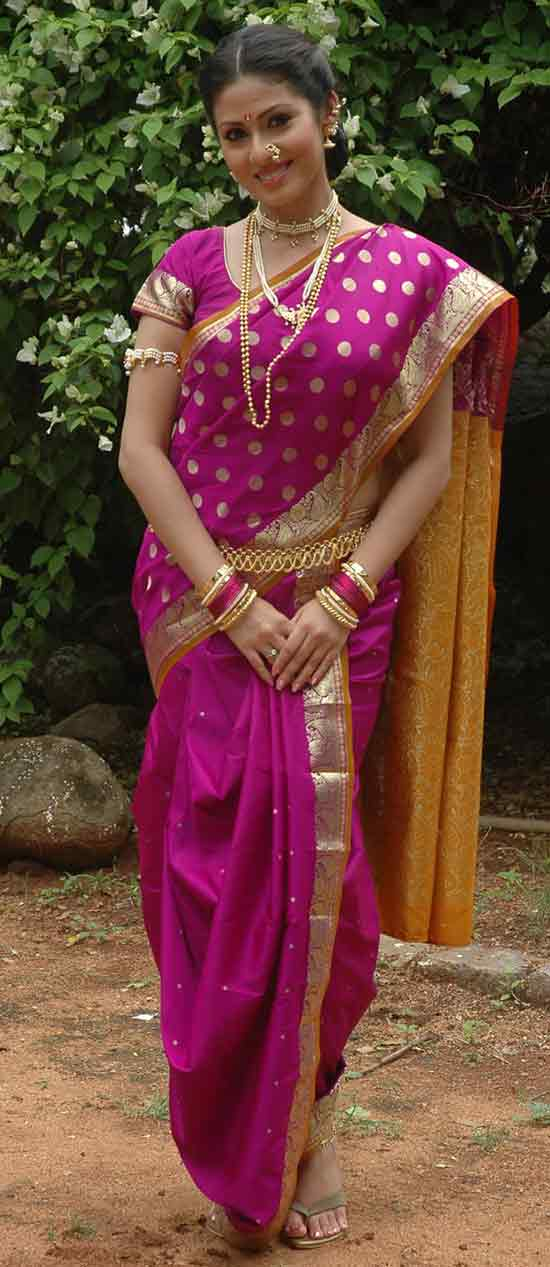 Sadha In Pink Color Nauvari Saree Mythri Movie