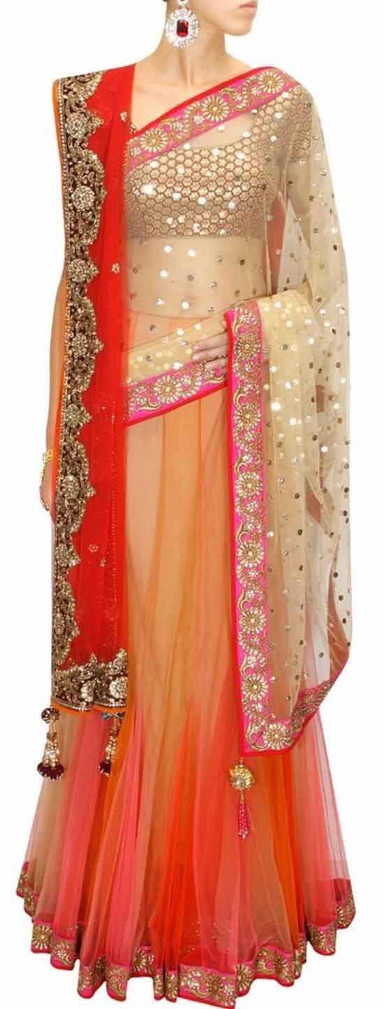 Shaded mukaish work kali lehenga sari with red embroidered blouse and dupatta