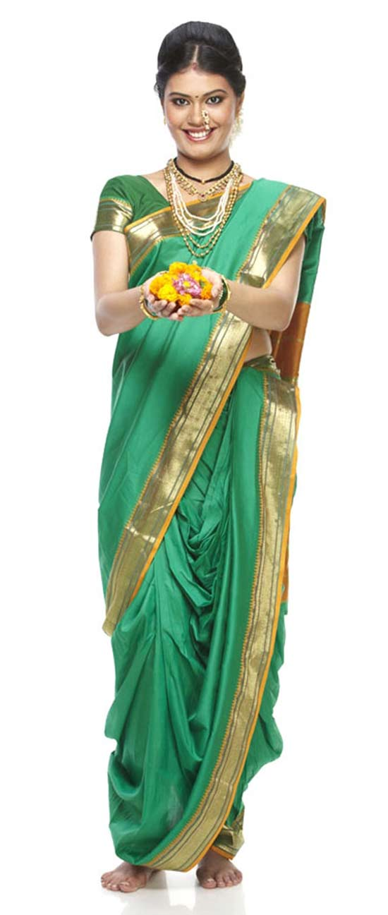 Shalgar Green Belgam Silk Border Work Peshwai Nauvari Saree